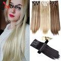 Leeons Дешевые 16 заколок для наращивания волос 22 дюйма длинные прямые синтетические заколки для наращивания волос оптом 16 заколок в шиньон