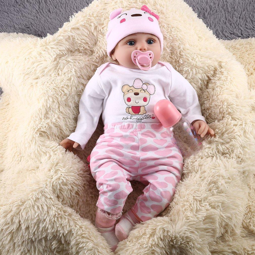 55CM Cute Soft Vinyl Reborn Baby Dolls Handmade Design Cloth Body Silicone Lifelike Alive Babies Doll Toys For Kids Girls