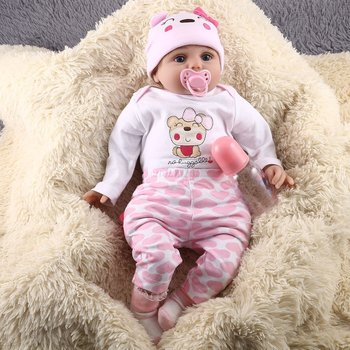 55CM Cute Soft Vinyl Reborn Baby Dolls Handmade Design Cloth Body Silicone Lifelike Alive Babies Doll Toys For Kids Girls ucanaan 55cm hair rooted cloth body reborn doll soft silicone brown eyes toys for girls baby alive new born kawaii kids toys