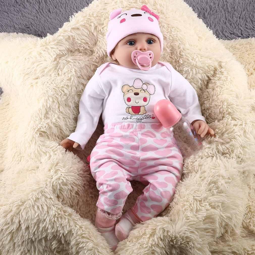 55cm bonito macio vinil renascer bonecas do bebê artesanal design pano corpo silicone lifelike vivo bebês boneca brinquedos para crianças meninas
