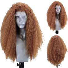 Харизма длинный оранжевый парик афро вьющиеся синтетические кружевные передние парики термостойкие волосы кружевные парики для женщин па...