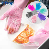 1Pair Kitchen Gloves Silicone Household Cleaning Gloves Magic Silicone Dish Washing Glove for Kitchen High Quality Cleaning Tool