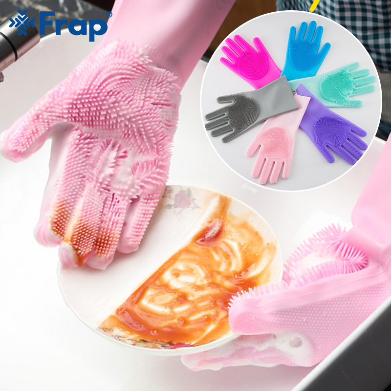 1Pair Kitchen Gloves Silicone Household Cleaning Gloves Magic Silicone Dish Washing Glove for Kitchen High Quality Cleaning Tool-in Household Gloves from Home & Garden