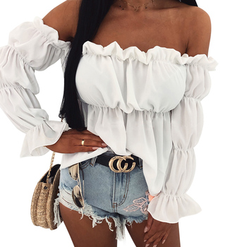 Stylish Women Off Shoulder Top Ladies Bell Sleeve Blouse Shirt High Street Womens Cropped Tops Autumn Long Blouses D35