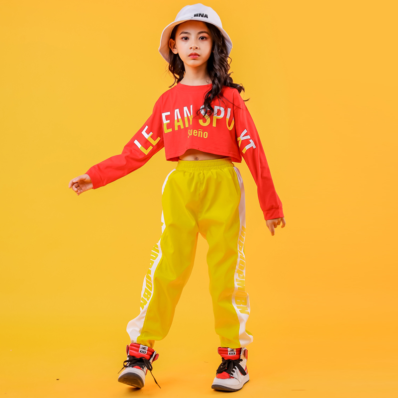 Kids  Hip Hop Clothing Red Sweatshirt Top Crop Yellow Running Casual Pants For Girls Jazz Dance Costumes Clothes Wear