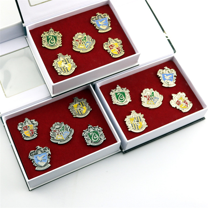 5pcs/Set Hogwarts School Badge Pins Brooch Gryffindor Ravenclaw Slytherin Hufflepuff Brooches Collection With Paper Gift Box