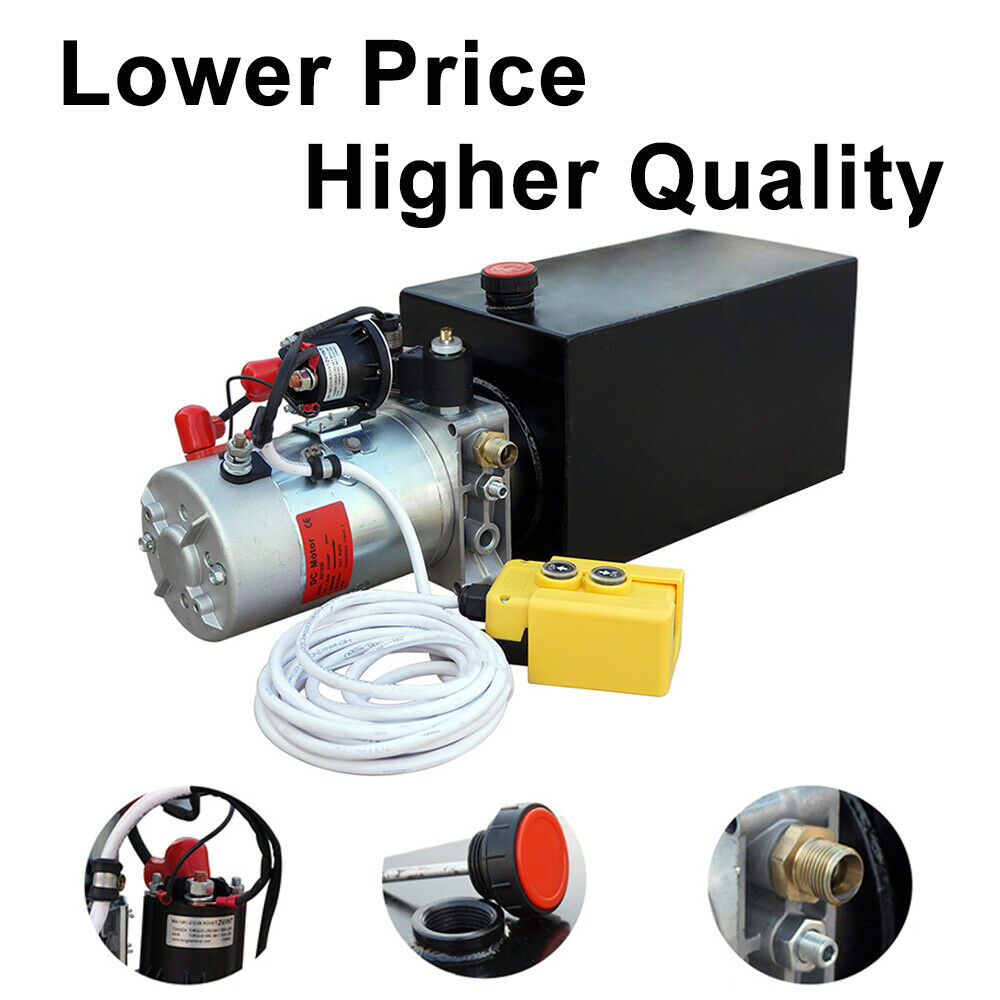 6L Single Acting Trailer Pump Electric Hydraulic Pump Power-Up Supply Unit For Dump Truck(6 Quart Single Acting 12V)