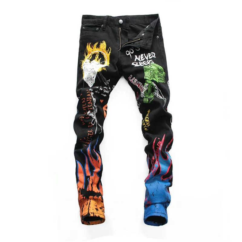 Moda Streetwear erkekler Jeans siyah renk grafiti baskılı kot tasarımcı Casual kalem pantolon elastik Slim Fit Hip Hop kot erkekler