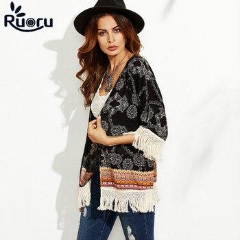 Ruoru Black Color Kimono Cardigan Floral Printed Beach Kimono Plus Size Boho Women Blouse Shirt  Ladies Tops with Fringe Tassel allover florals print fringe hem kimono