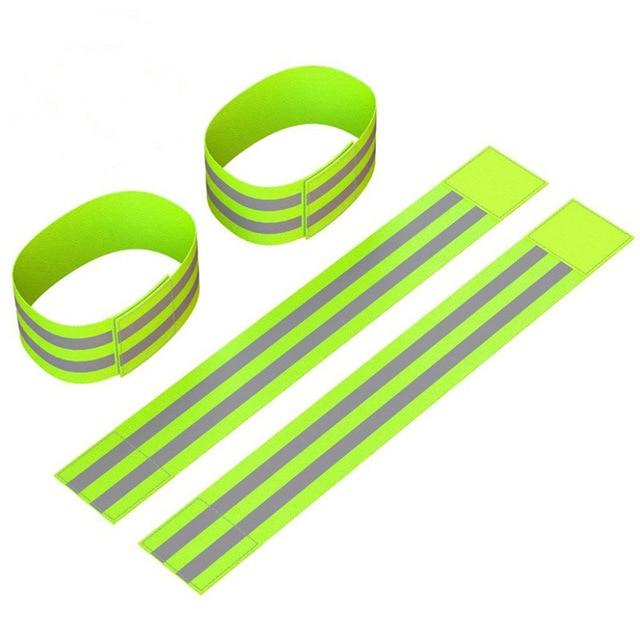 Reflective Bands Elasticated Armband Wristband Ankle Leg Straps Safety Reflector Tape Straps for Night Jogging Walking Biking 2