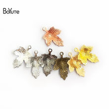 BoYuTe (100 Pieces/Lot) Metal Brass 12*15MM Stamping Maple Leaf Charms for Jewelry Making Diy Hand Made Accessories(China)