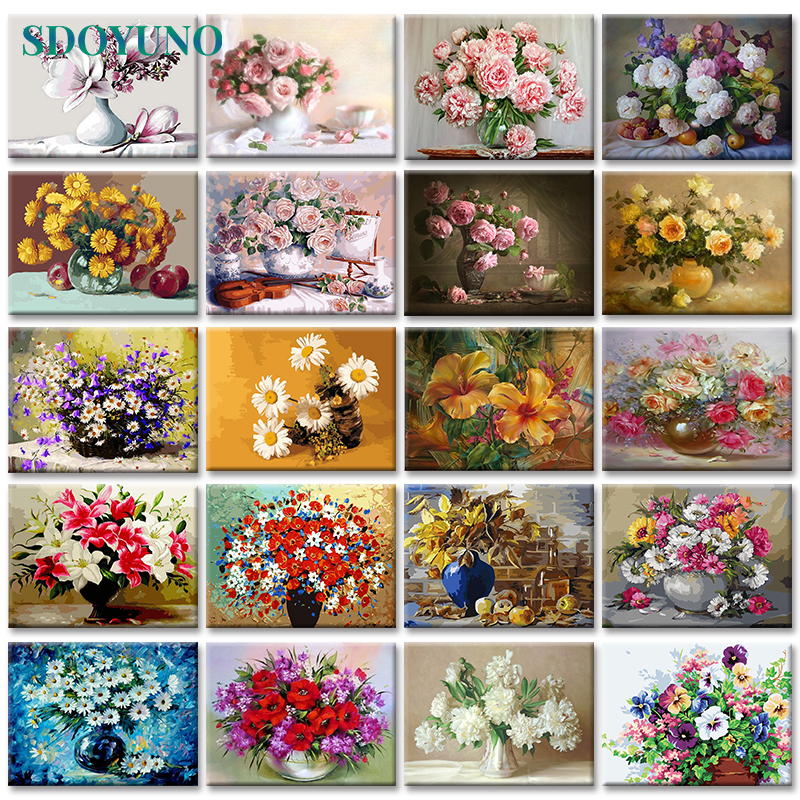 SDOYUNO on Canvas Oil-Painting Room-Decoration Flowers-Nature-Pictures By Numbers Frameless title=