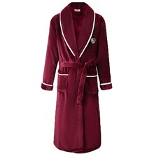 Flannel Women Robe Kimono Bathrobe Gown Casual Loose Nightdress Sleepwear Winter Thick Warm Coral Fleece Nightwear Home Clothes