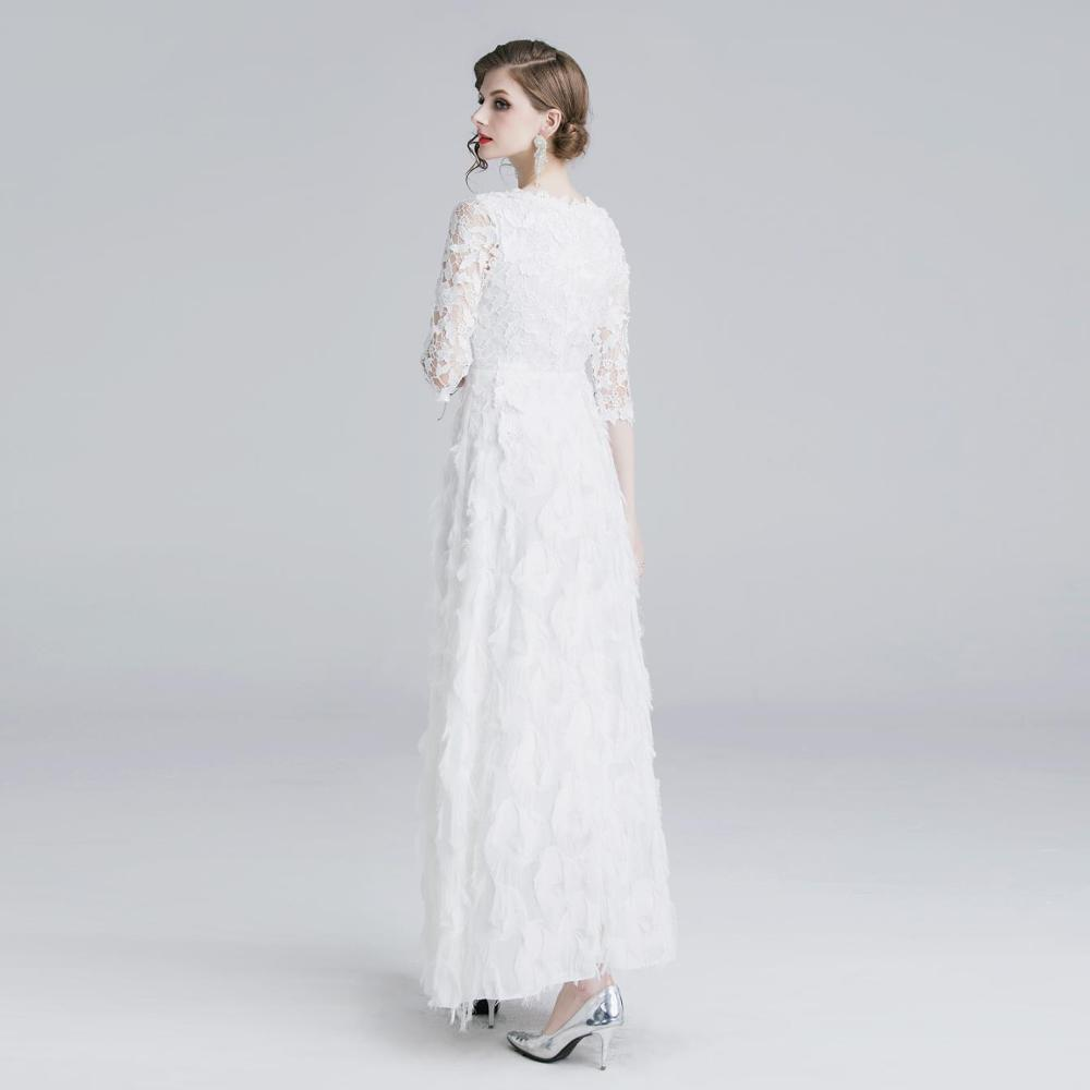2019 New Dress European And American Women's Sleeves Water Soluble Lace Dress Long Paragraph Large Dress