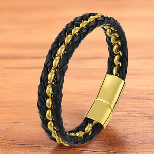 Charm Fashion Chain Gold Black Leather Men Bracelet Magnet Luxury Bangles Jewelry Accessories Rope Braided Stainless Steel