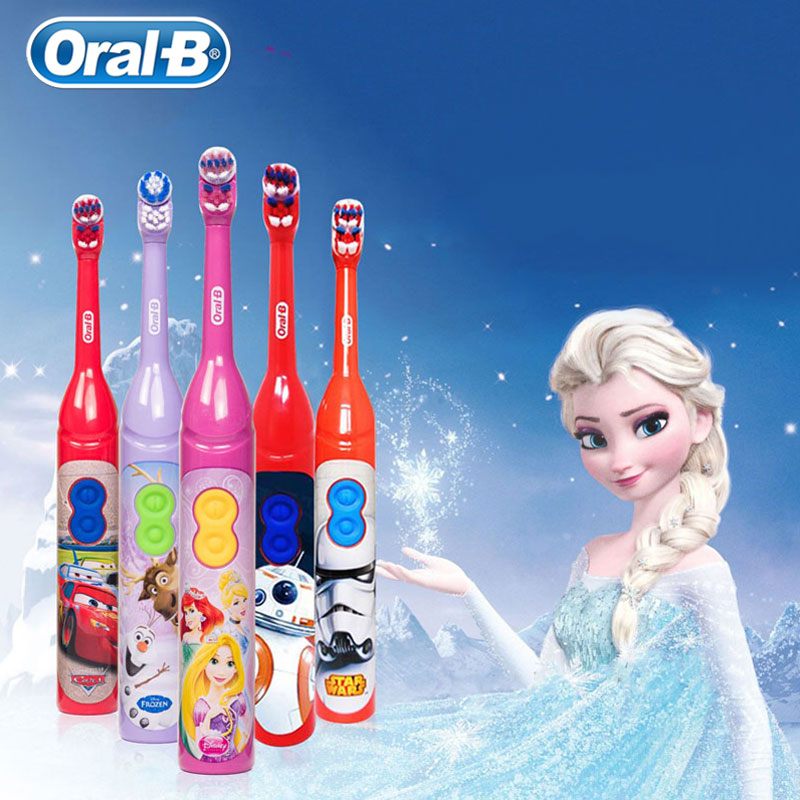 <font><b>Oral</b></font> <font><b>B</b></font> Kids Electric Toothbrush Soft Bristle Waterproof Powered by 1 AA <font><b>Battery</b></font> Gum Care <font><b>Oral</b></font> Hygiene Teeth Bush For Children image