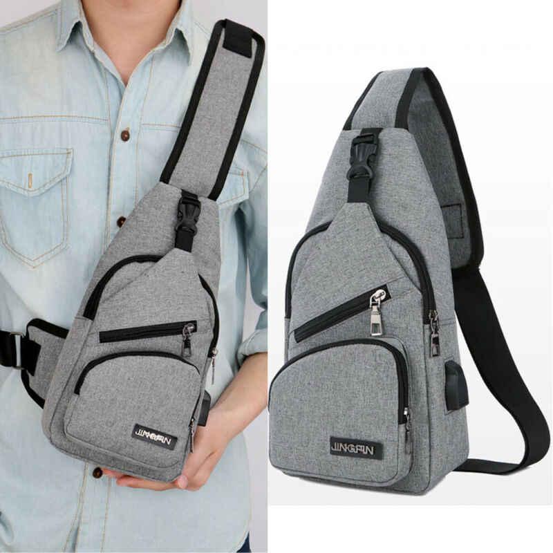 Pria Tas Bahu Sling Dada Pack Kanvas USB Pengisian Olahraga Tas Selempang Pria Tas Dada Sabuk Pinggang Paket