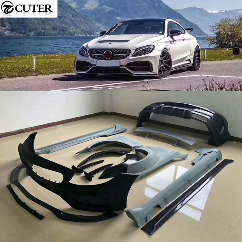W205 C63 PD style Wide Car body kit Carbon fiber PP front bumper rear bumper fender side skirts for Benz W205 C63 AMG 14-18 image