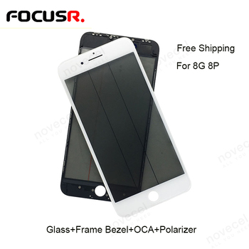 Free Shipping LCD Screen Outer Glass Lens Cover With Bezel Frame OCA For iPhone 8G 8P Mobile Phone Touch Panel Repair Parts