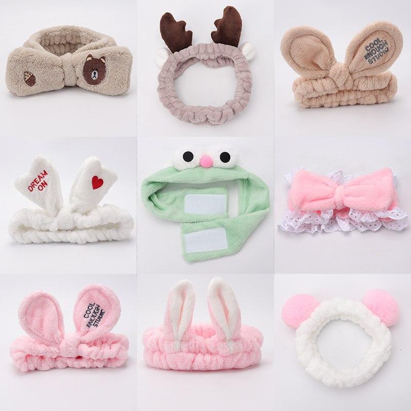 Women's Stretch Hair Band Wash Makeup Mask Headband Children's Hair Band Bow Ear Tiara Hair Accessories