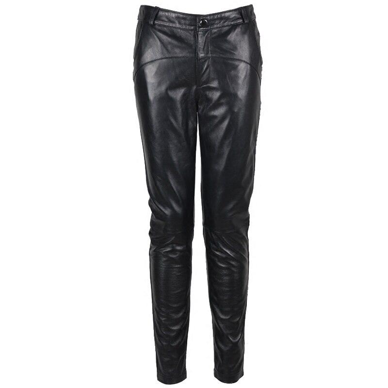 Женские узкие брюки из натуральной овечьей кожи, черные брюки карандаш, большие размеры, зима 2019 - 2