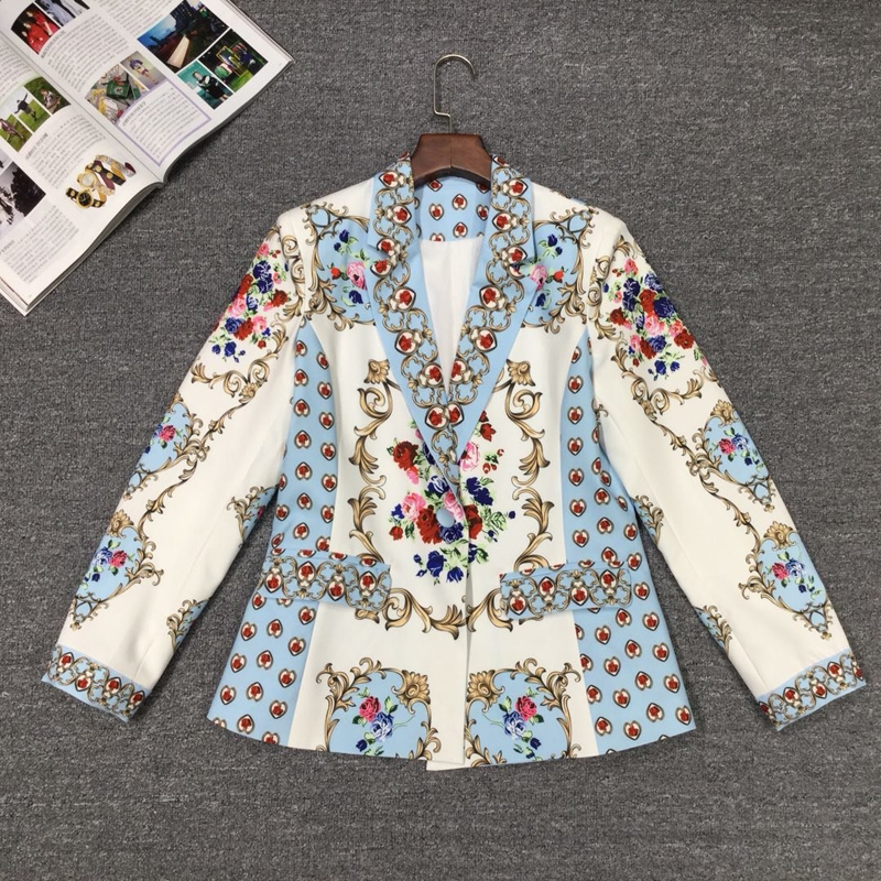 Image 3 - GoodliShowsi Autumn High End Noble Women Sets Skirt Suits Floral  Print One Button Suit Tops   Bodycon Pencil Skirt Matching SetsSkirt  Suits