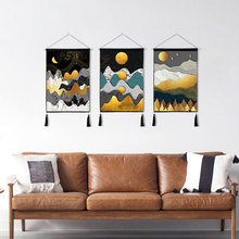 Abstract Landscape Painting Home Wall Art Painting Fabric Craft Cloth Hanging Tapestry Cotton Linen Scroll Painting with Tassels