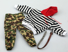 1/6 Male Trends Soldiers Black and White Stripes Sweaters with Big Hats & Closing Camouflage Pants Set Model for 12 Figure Toy