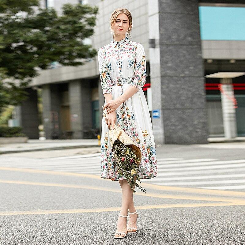 MIUXIMAO 2020 robe d'été de haute qualité nouvelle mode fête décontracté lieu de travail élégant fleur imprimer Gentlewoman robe Midi femmes