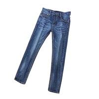 Four season jeans men's letter leather logo hole paint dot hip hop slim Blue Elastic Italian pop brand