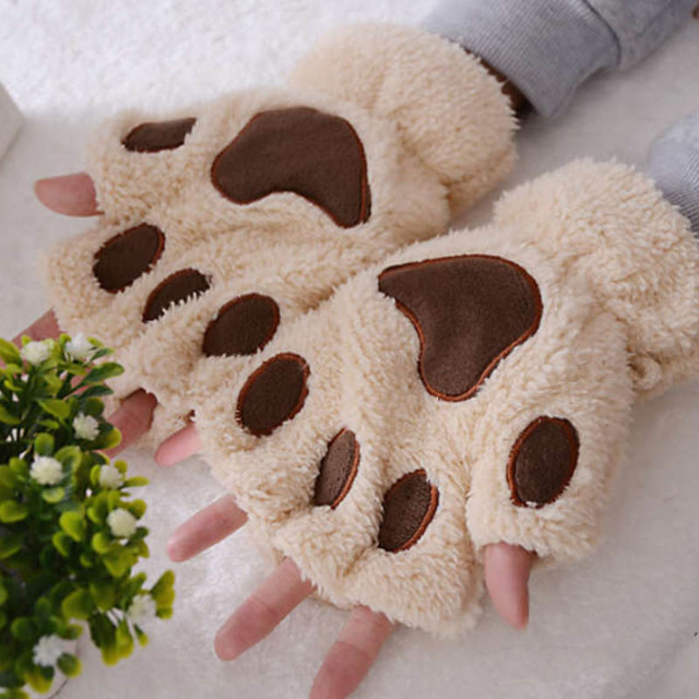 Plush Thicken Big Cat  Claw Winter Supplies Warm Gloves 1 Pair Girls Gloves Cute Cartoon Half Finger 4