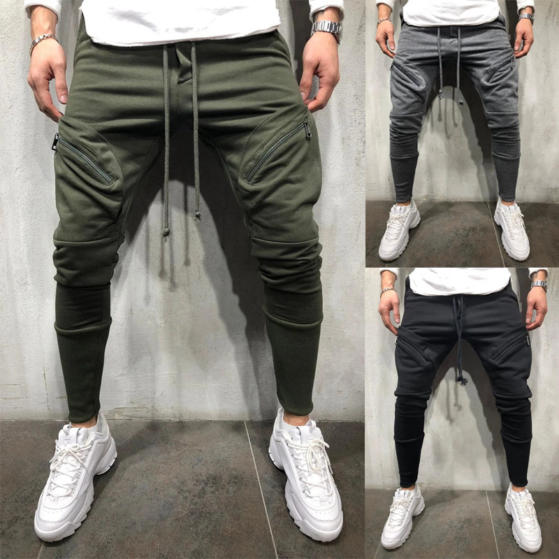 2020 Men Business Casual Cotton Slim Straight Trousers Spring Summer Long Pants Multi-pocket Zip-up Sweatpants Jogging Pants