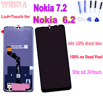 Original 6.3 LCD Display for Nokia 7.2 Nokia 6.2 TA-1198 TA-1200 TA-1196 Touch Screen Digitizer Assembly Frame with Free Tools shyueda 100% original new aaa for nokia 3 ta 1020 ta 1028 ta 1032 ta 1038 5 0 lcd display touch screen digitizer