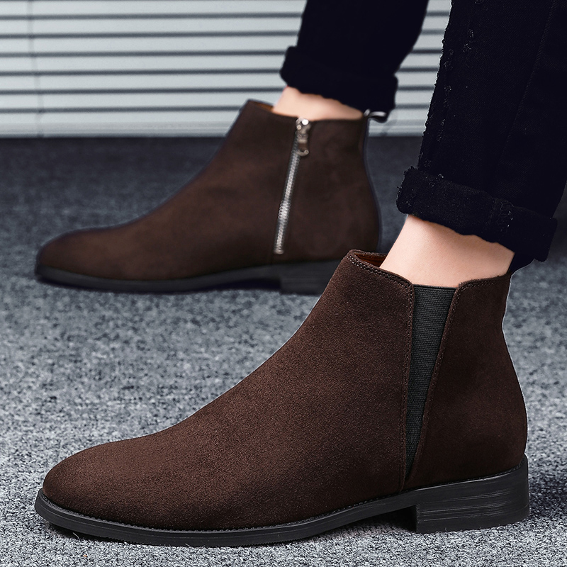 Men Chelsea Boots Ankle Boots Fashion Men's Male Brand Leather Quality Slip Ons Motorcycle Man Winter Warm Chelsea