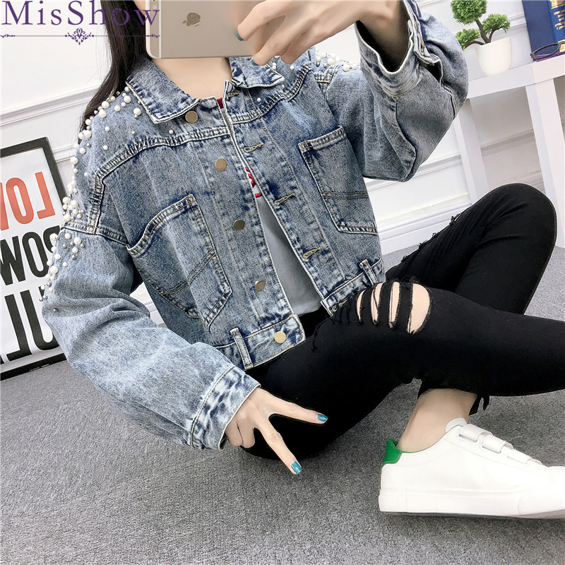 2019 Autumn Casual   Jackets   Women Fashion Coat With Pearl High Street Denim   Jacket     Basic     Jacket   Outwear Back Button Patchwork