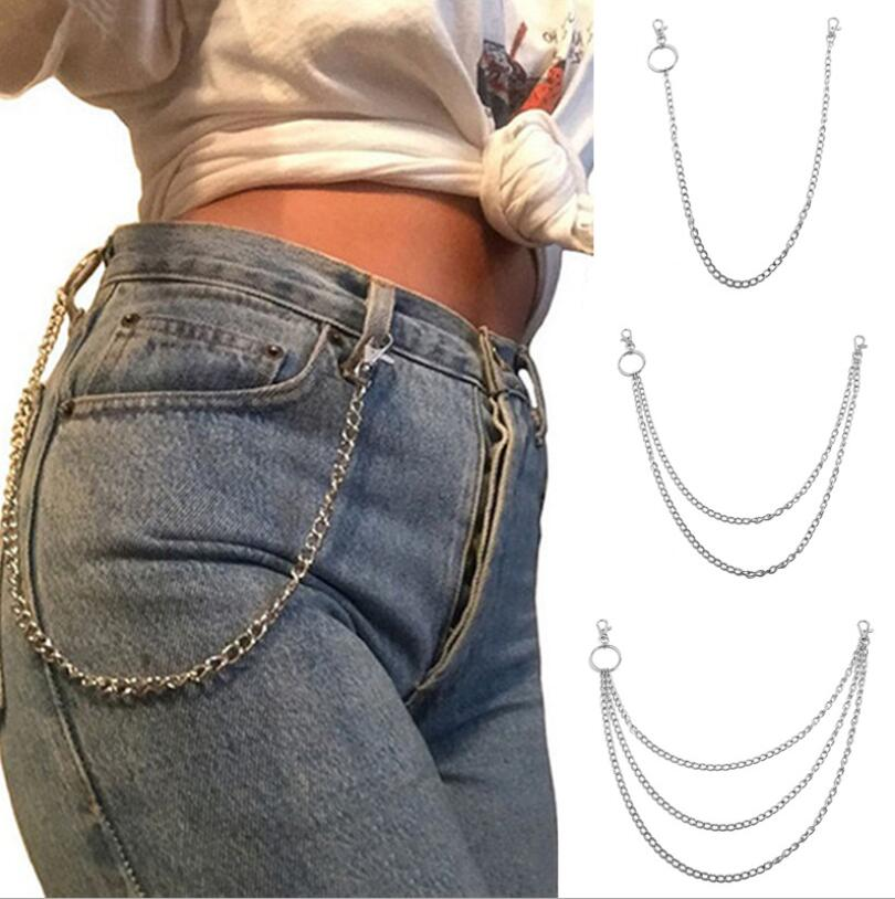 New Woman Men Chain Belt Punk Pant Style Female Hip Hop Trousers Silver Chain Ladies Cool Metal Key Chains On Jeans Belt Chains