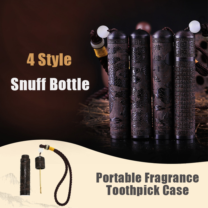 Portable Ebony Empty Snuff Bottle with Metal Spoon Toothpick Holder Case Container Fragrance Sniffer Bullet Smoking Accessories(China)