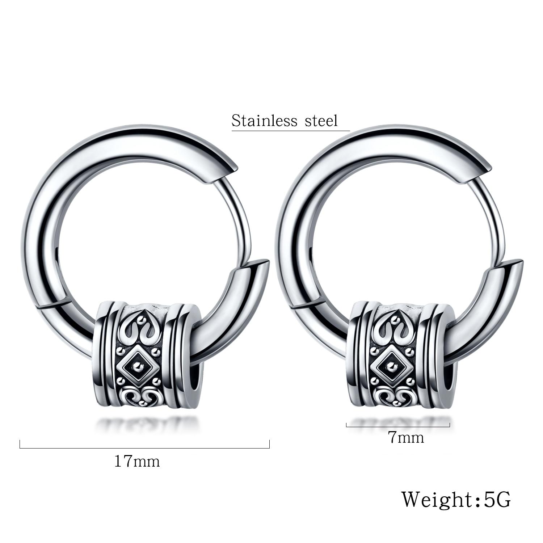 OPK Men Cool Punk Stud Earrings Round Men Earring Stainless Steel Pendant Jewelry Steel Vintage Ear Hipster Rock Style 557