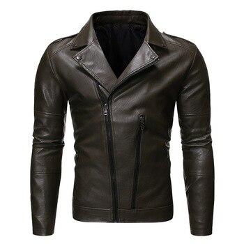 2020 Men's Leather Jacket zipper design High Quality Leather Brown Men Jacket Leather Men Jacket And Coat jaqueta de couro