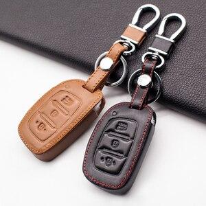 High quality stylish leather key case For Hyundai IX25 IX35 I20 I30 I40 hb20 Santa Fe Creta Solaris 2017 car key cover