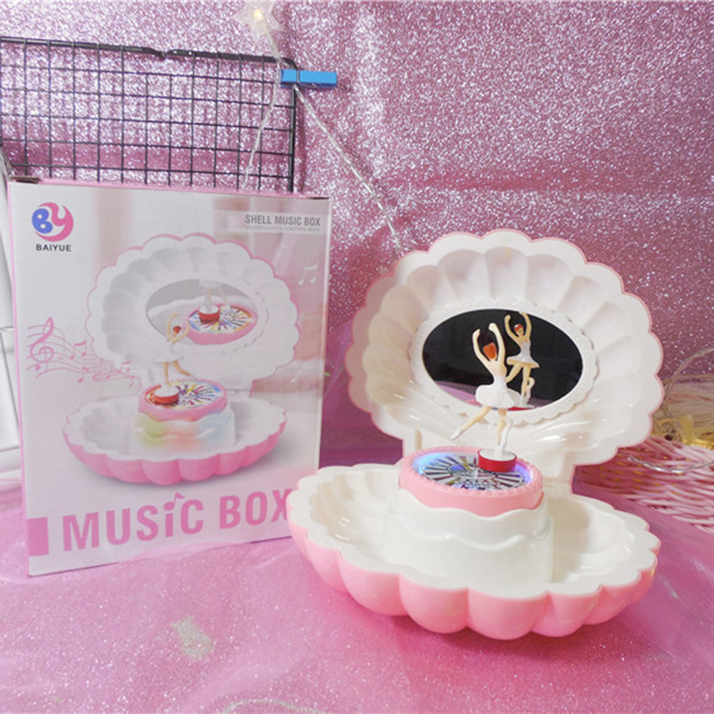 Pink Shell Shaped Rotating Girl LED Flashing Music Box Musical Toy Kids Xmas Gift