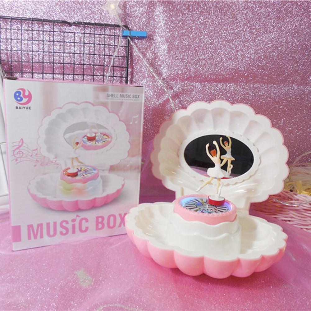 Pink Shell Shaped Rotating Girl LED Flashing Music Box Musical Toy Kids Xmas Gift