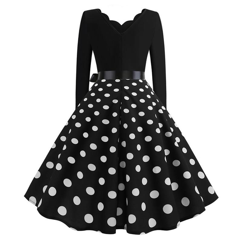 Women Long Sleeve Winter Vintage Dresses Sexy Black Music Note Print V-neck Rockabilly Pin up Party Dress Vestidos Plus size 565