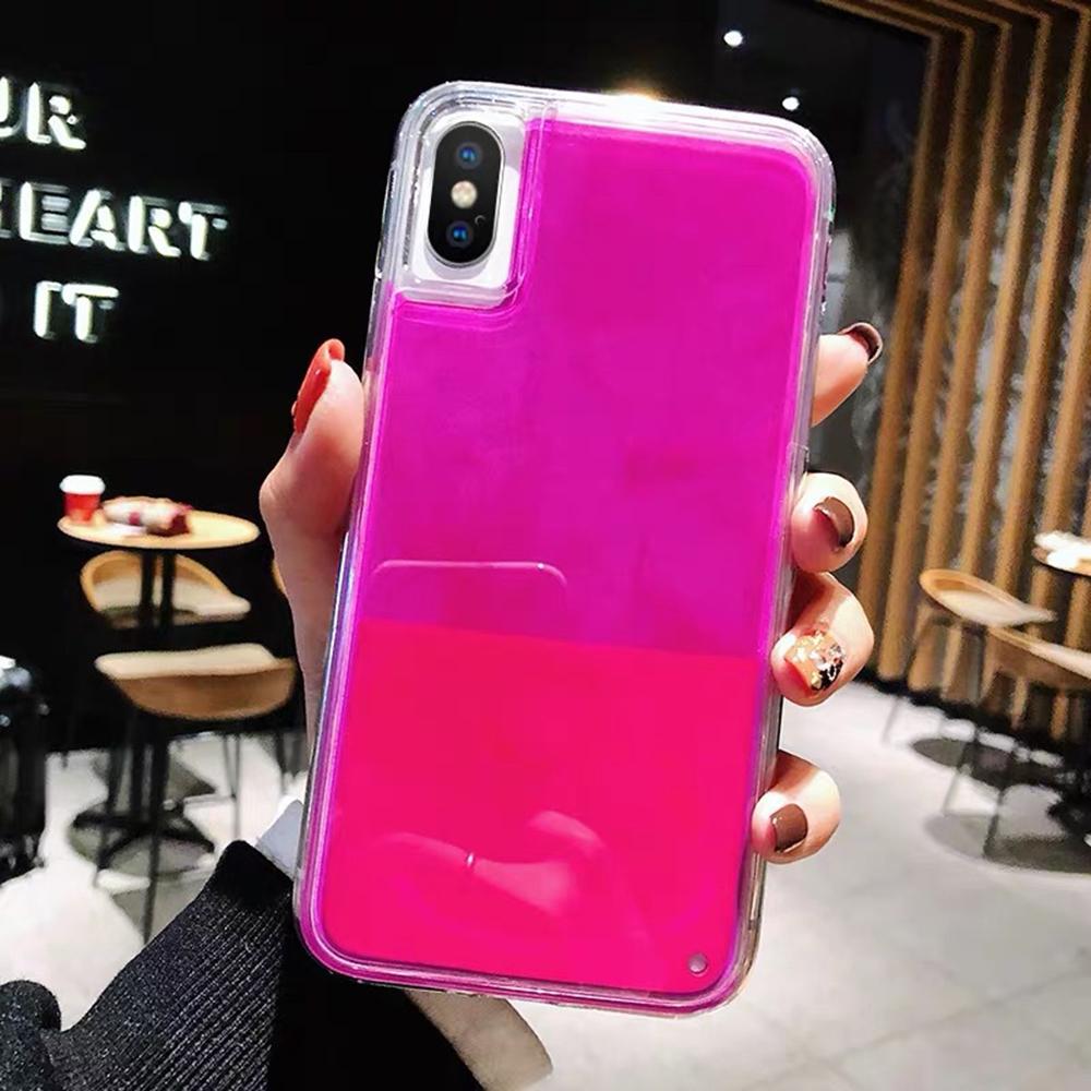 Phone - New Fashion Noctilucent Dynamic Liquid Quicksand For iPhone 6 6S 7 8 Plus X XR XS Max Phone Cases Trend Luminous Case