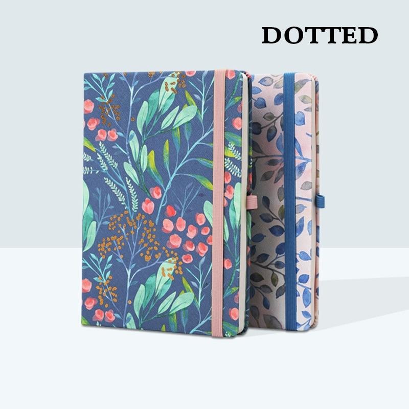 Dotted Bullet Journal Flyleaf Florals Notebook HardCover Flower Elastic Dot Grid Diary Travel Planner Bujo