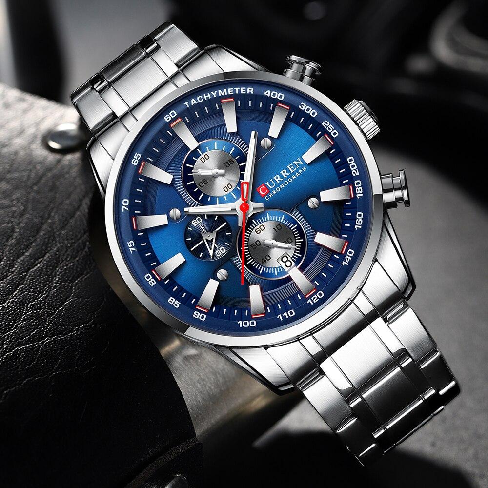 CURREN Watch Men Quartz High-end Men's Steel Belt Watch Business Portable Simple Color Watch Waterproof Three Dial Men's Watch