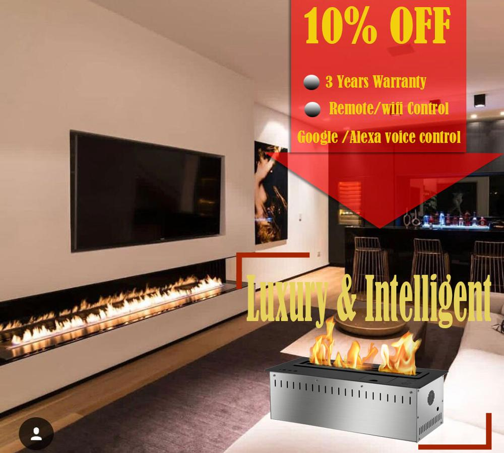 On Sale  18 Inch Silver Or Black Real Fire Wifi Intelligent Auto Bioethanol Fireplaces