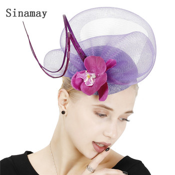 Light Purple Ladies Event Fasinator Hats Ladies Vintage Wedding Millinery Caps Bridal Party Dinner Hair Accessories Flower Decor image