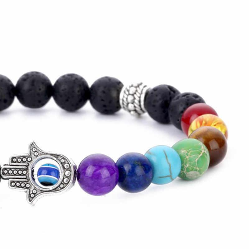 Accesorios superventas pulsera de 8mm de siete chakras para Yoga y palma volcánica, joyería para hombres y mujeres, brazalete con cabeza de rosario
