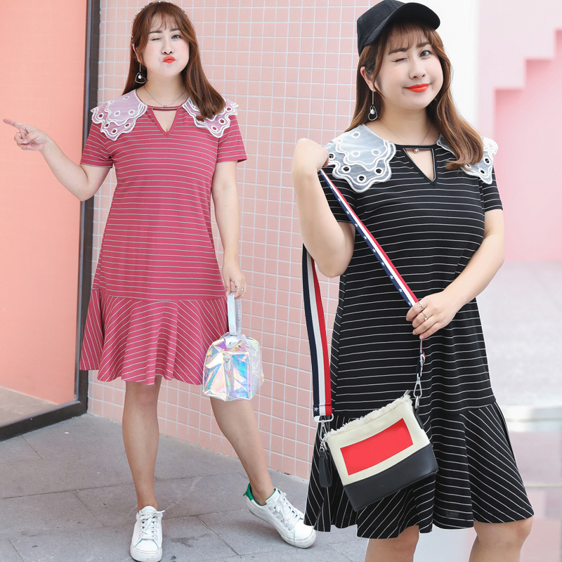 [LIMITED Time Feedback] 200 Slimming Peter Pan Collar Striped Dress Skirt Fat Mm Dress Wholesale 1184